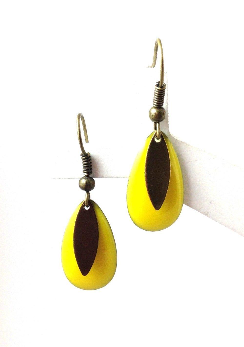 Boucles d'oreilles bronze Cabochon  goutte jaune Et bronze