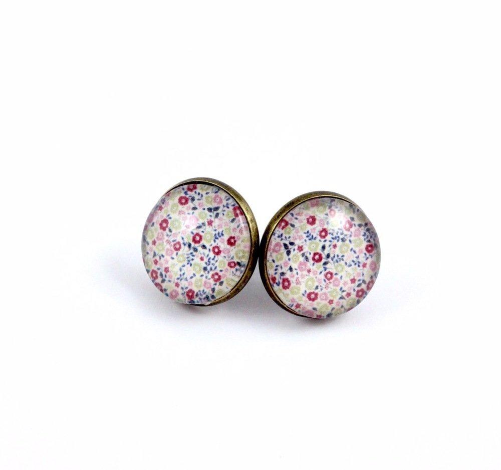 Boucles d'oreilles dormeuses bronze Cabochon Fleurs LIberty rose