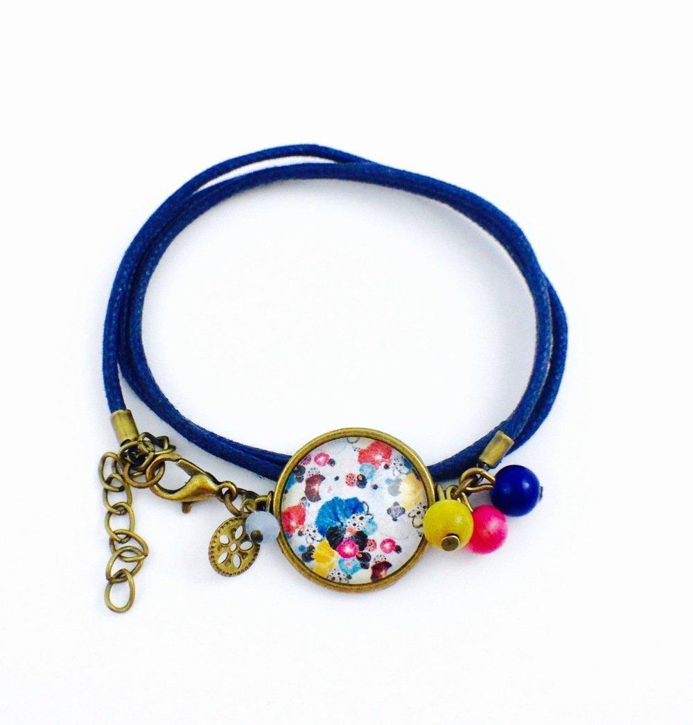 Boucles d'oreilles dormeuses bronze Cabochon Fleurs coquelicots roses bleues Et blanches, perle bleu, fleuri, cadeau femme, bohème chic