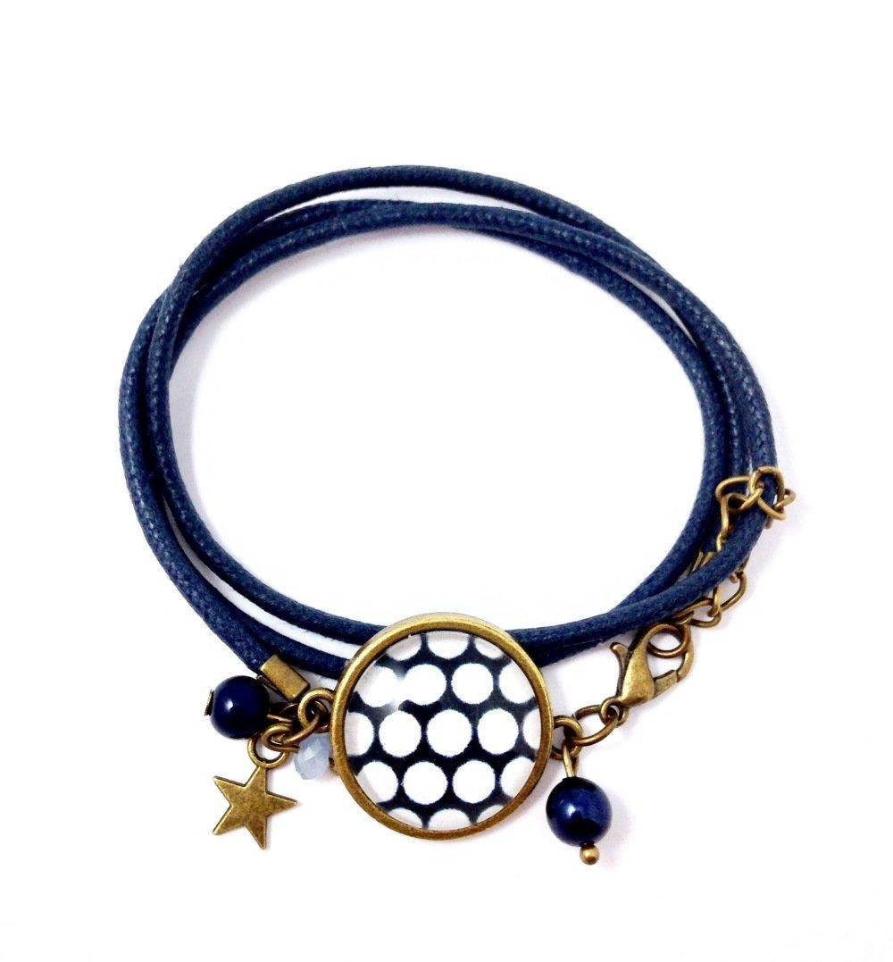 Boucles d'oreilles dormeuses bronze Cabochon Pois blancs sur fond bleu,cadeau femme, bohème, chic