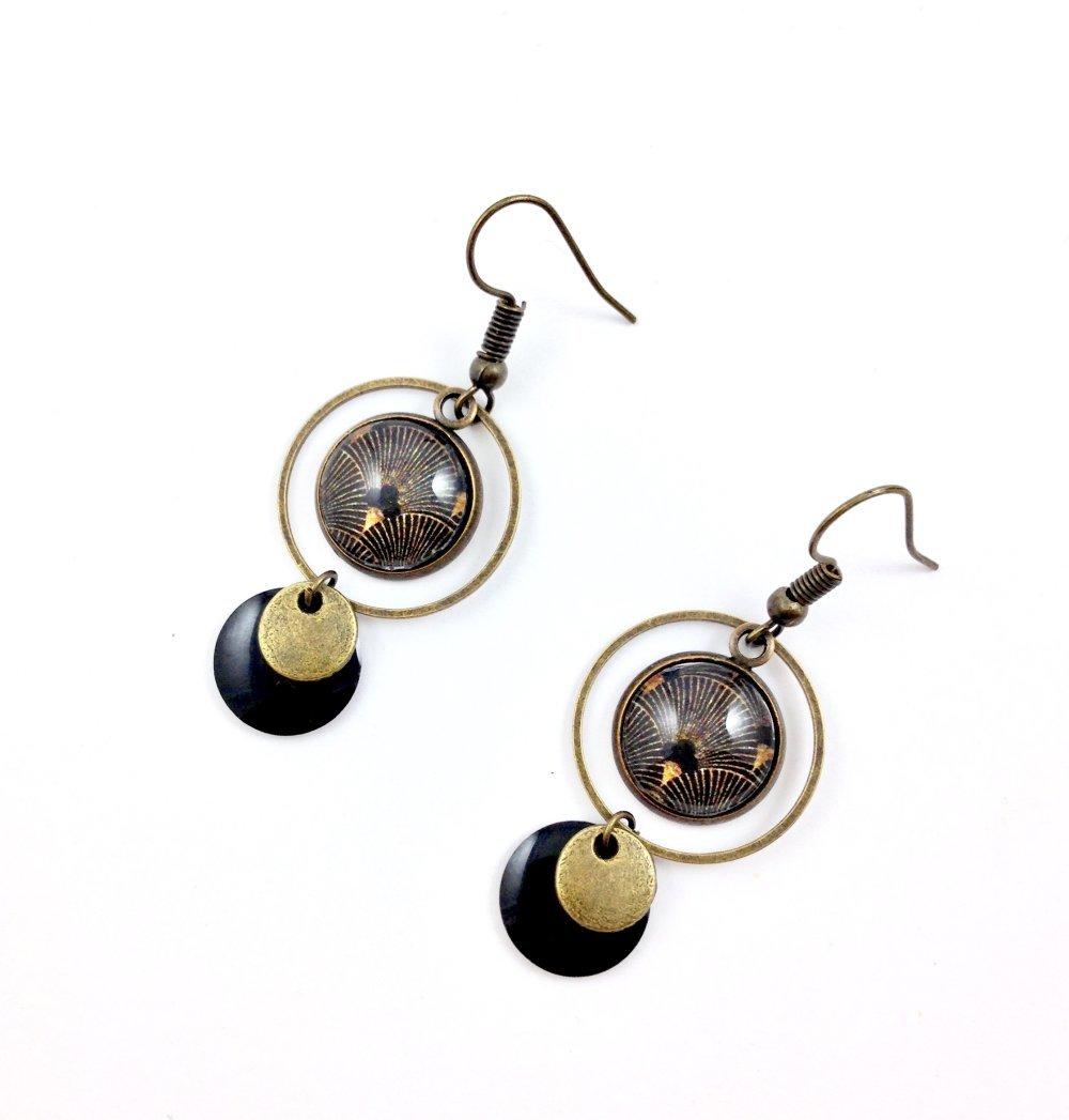 Boucles d'oreilles creole bronze Cabochon, vagues japonaises noires et or, cadeau femme, bohème chic, automne hiver, ethnique, africains