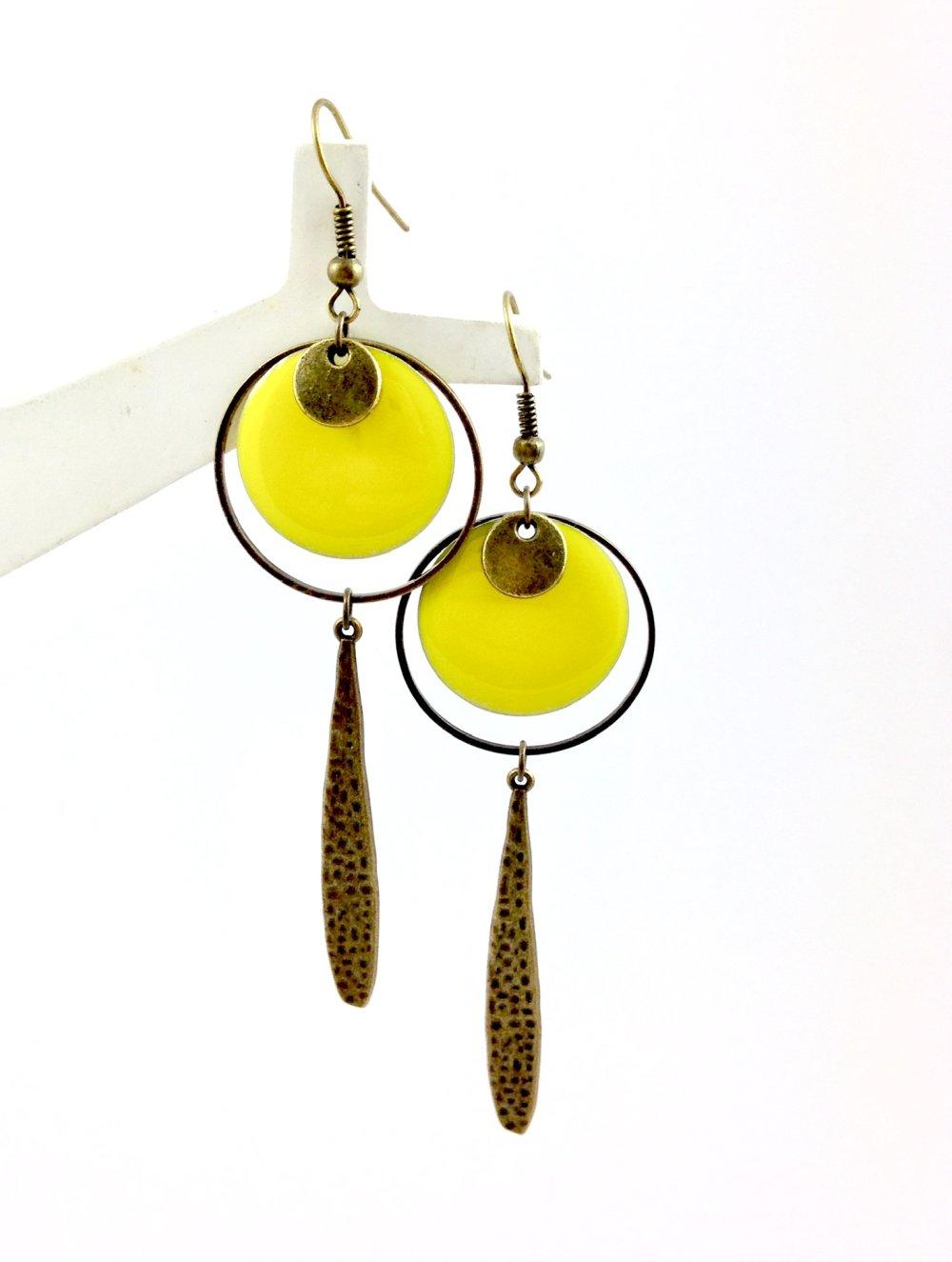 Collier Sautoir bronze  créole Sequin rond émaillé jaune, Anneau et goutte bronze, bohème chic, cadeau femme
