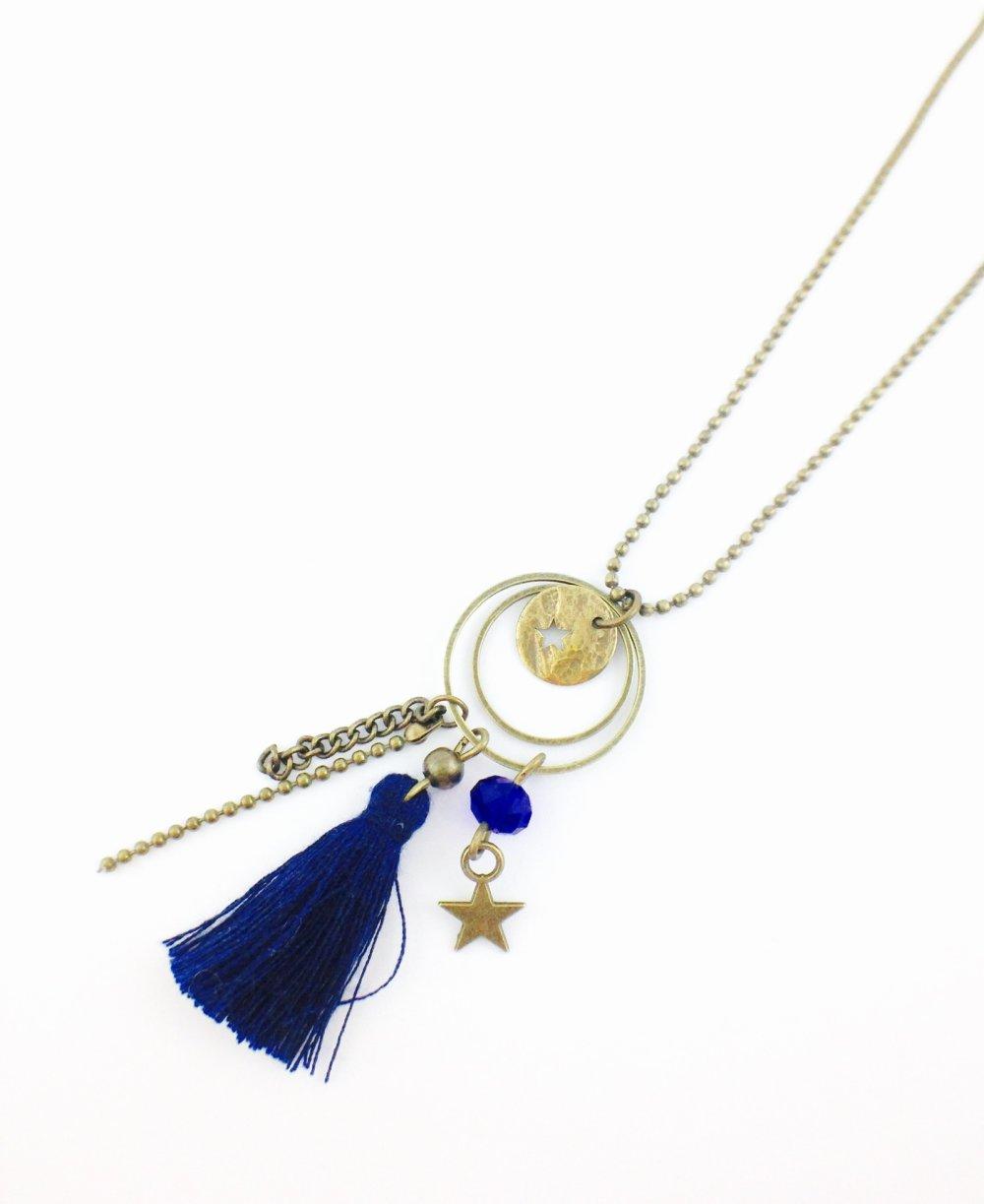 Collier Sautoir bronze Anneaux Pompon bleu Etoile, creole bronze,cadeau, femme, bohème chic, original