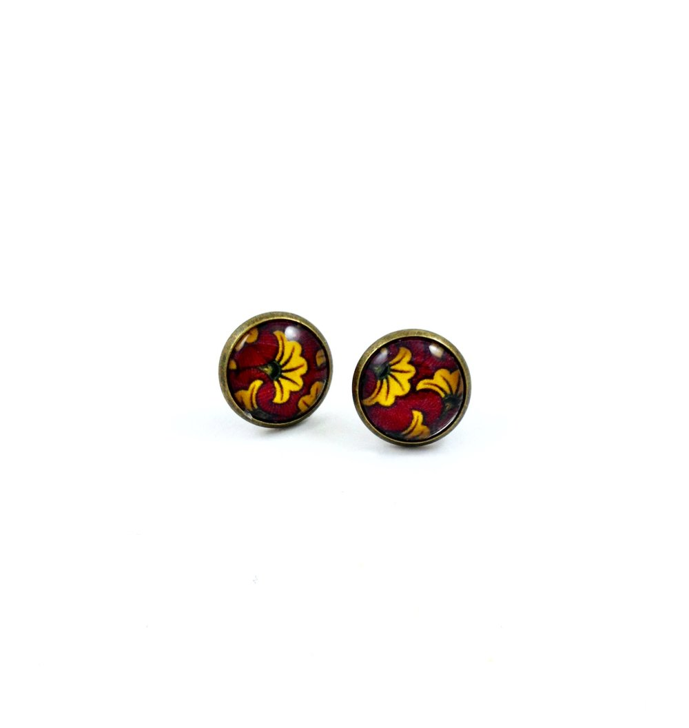 Boucles d'oreilles pendantes bronze Cabochon, fleurs jaune rouge, Wax africaine, minimaliste, cadeau femme, coloré, ethnique