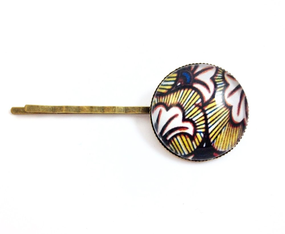 collier sautoir  bronze Cabochon Wax africaine jaune noire anneau, fleurs, sequin rond noir, motifs géométriques, original, cadeau femme,
