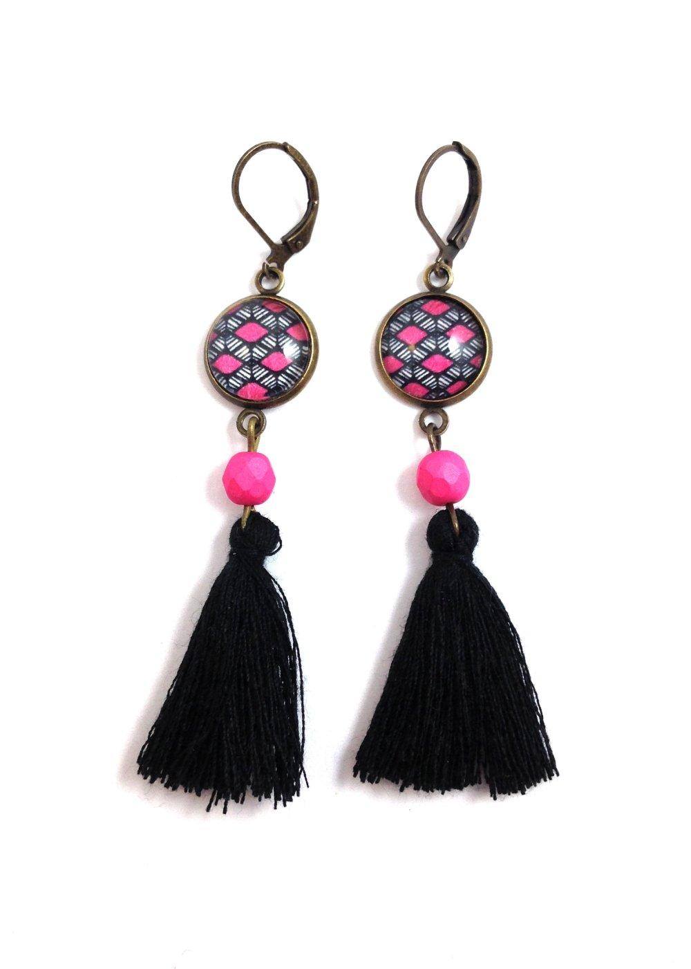 Boucles d'oreilles  pendantes bronze Cabochon ovale, Wax africaine rose et noire, ethnique, cadeau femme, bohème chic