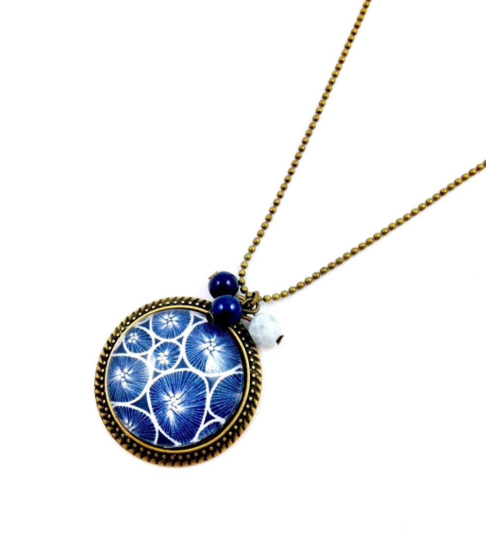collier sautoir bronze Cabochon, fleurs bleues blanches, Perles, cadeau femme, bohème, chic, fleuri