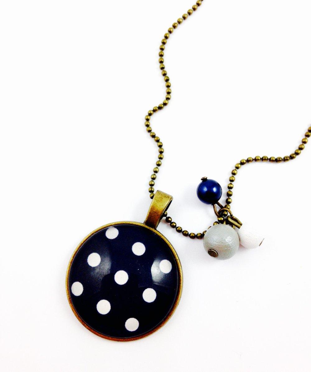 Bracelet coton ciré bleu bronze Cabochon, pois blancs fond bleu marine,cadeau, femme, géométrique, bohème chic,