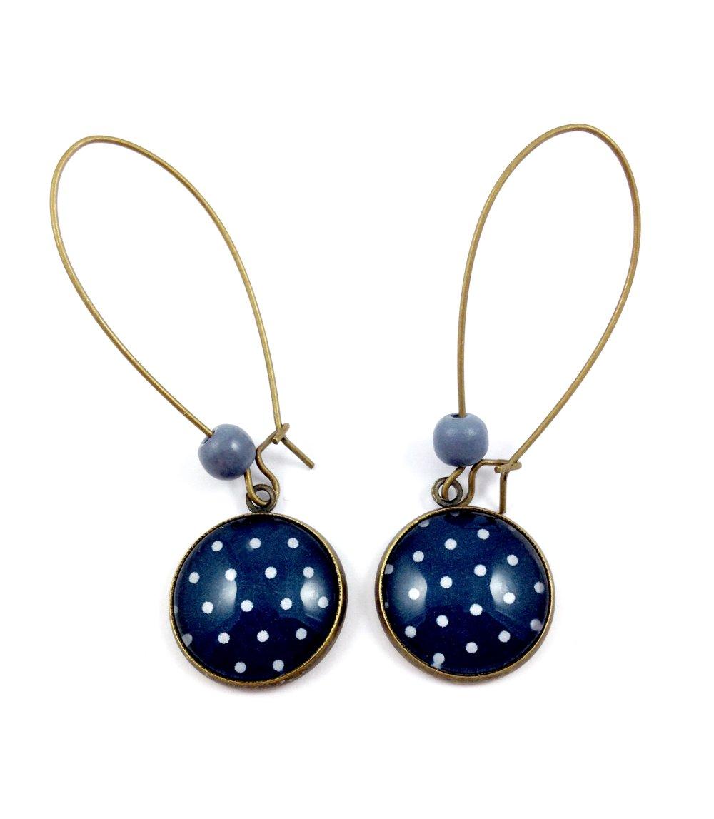 Collier sautoir bronze Cabochon, Pois bleus fond bleu marine, motifs géométriques, cadeau femme, bohème chic