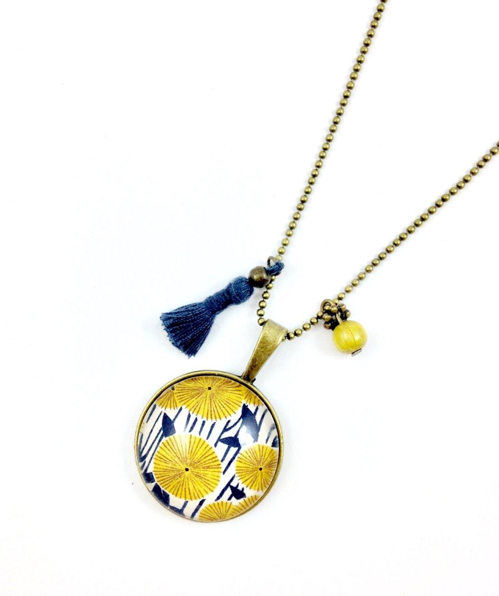 Boucles d'oreilles pendantes bronze Cabochon, Fleurs jaunes bleues, coloré, fleuri, cadeau femme, bohème chic