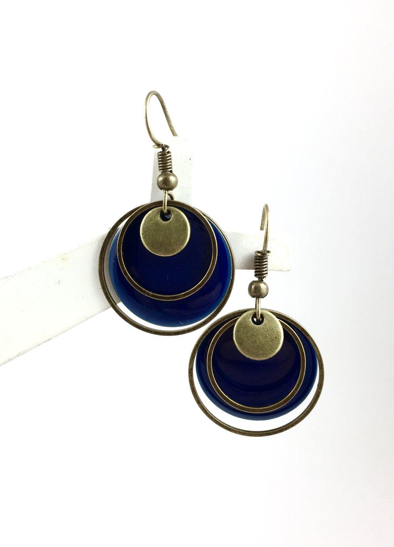 Boucles d'oreilles creole pendantes bronze Sequin émaillé rond bleu, anneau bronze, cadeau femme,chic bohème