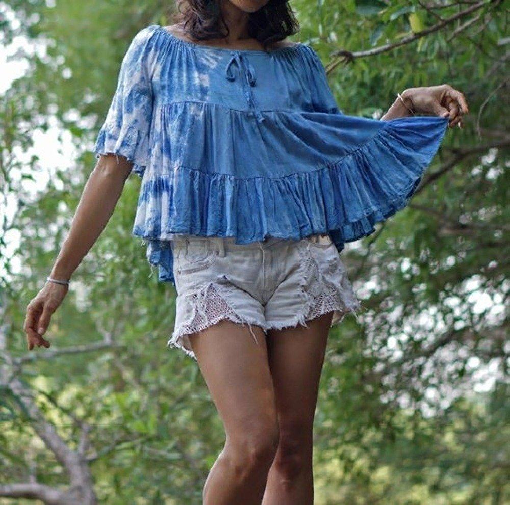 Mini blouse en indigo naturel