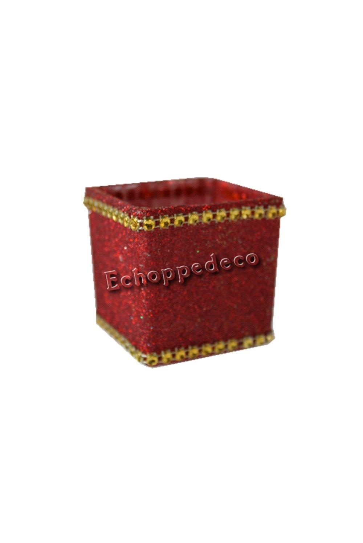 Photohore verre carré pailleté rouge strass or