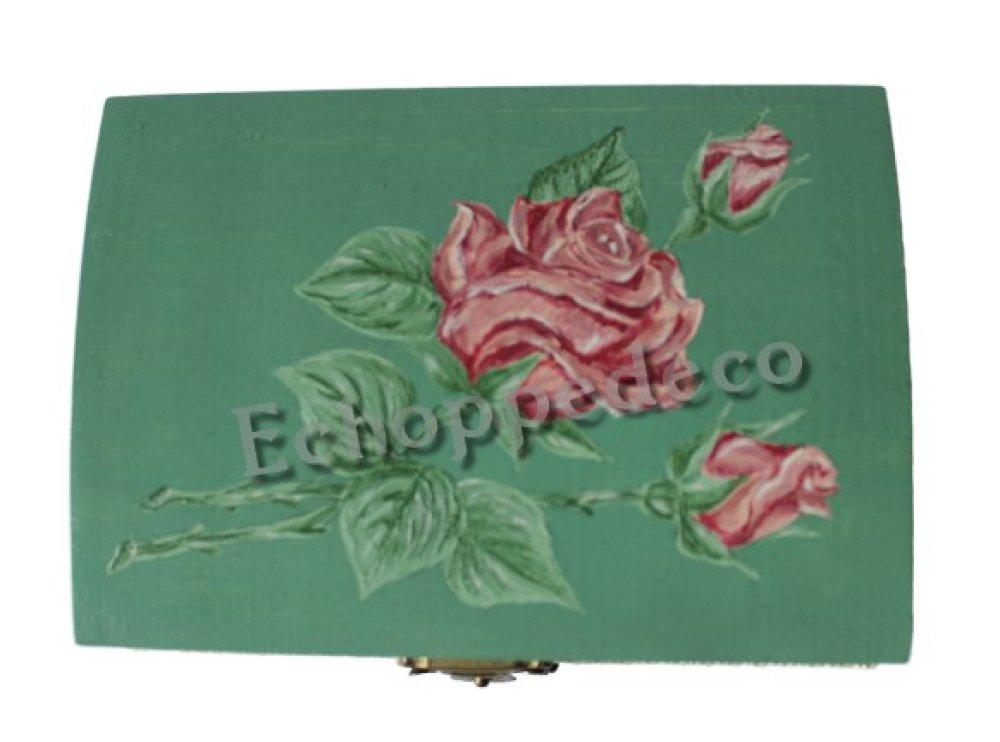 Boite coffret bois '' Rose et boutons ''