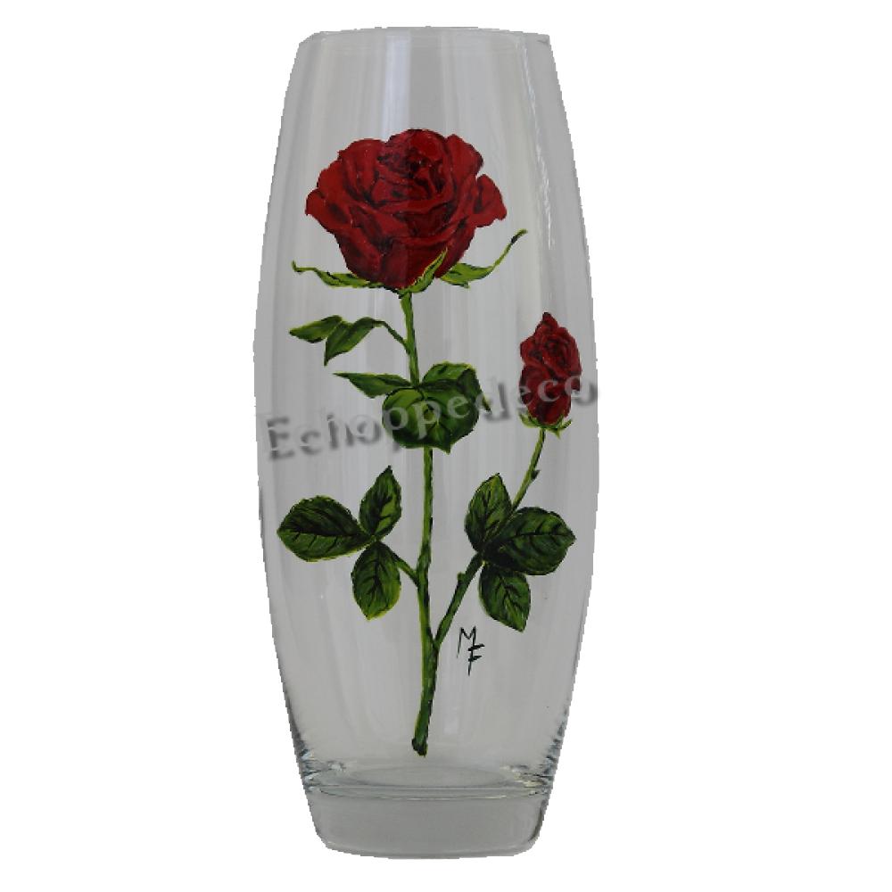 """Vase """" Rose rouge et bouton """""""