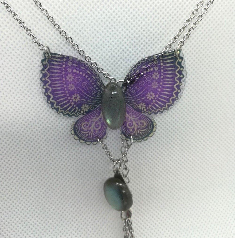 Collier papillon et labradorite