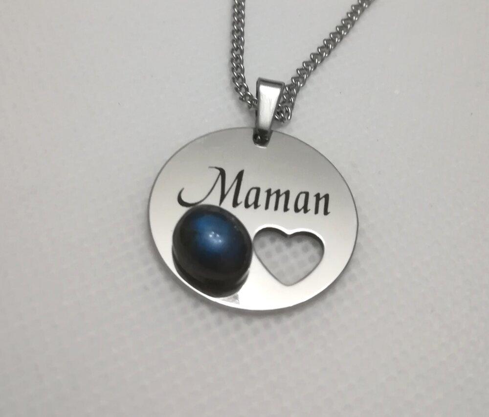 """Collier """"Maman"""" avec une labradorite bleu"""