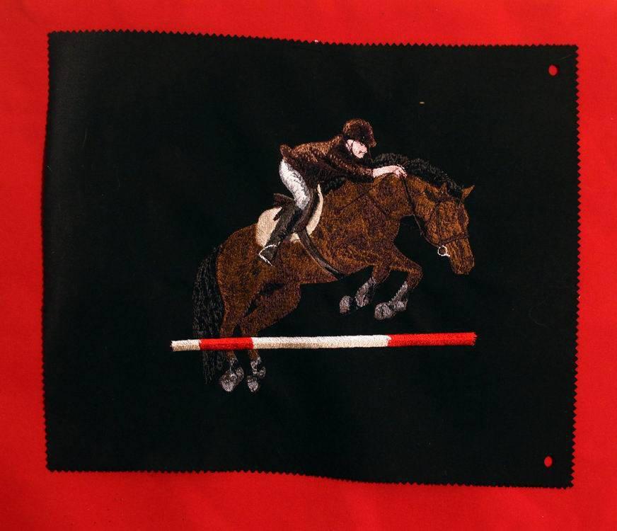 Écusson patch brodé cso cheval baie équitation cavalier, broderie machine jumping, à coudre Taille XL