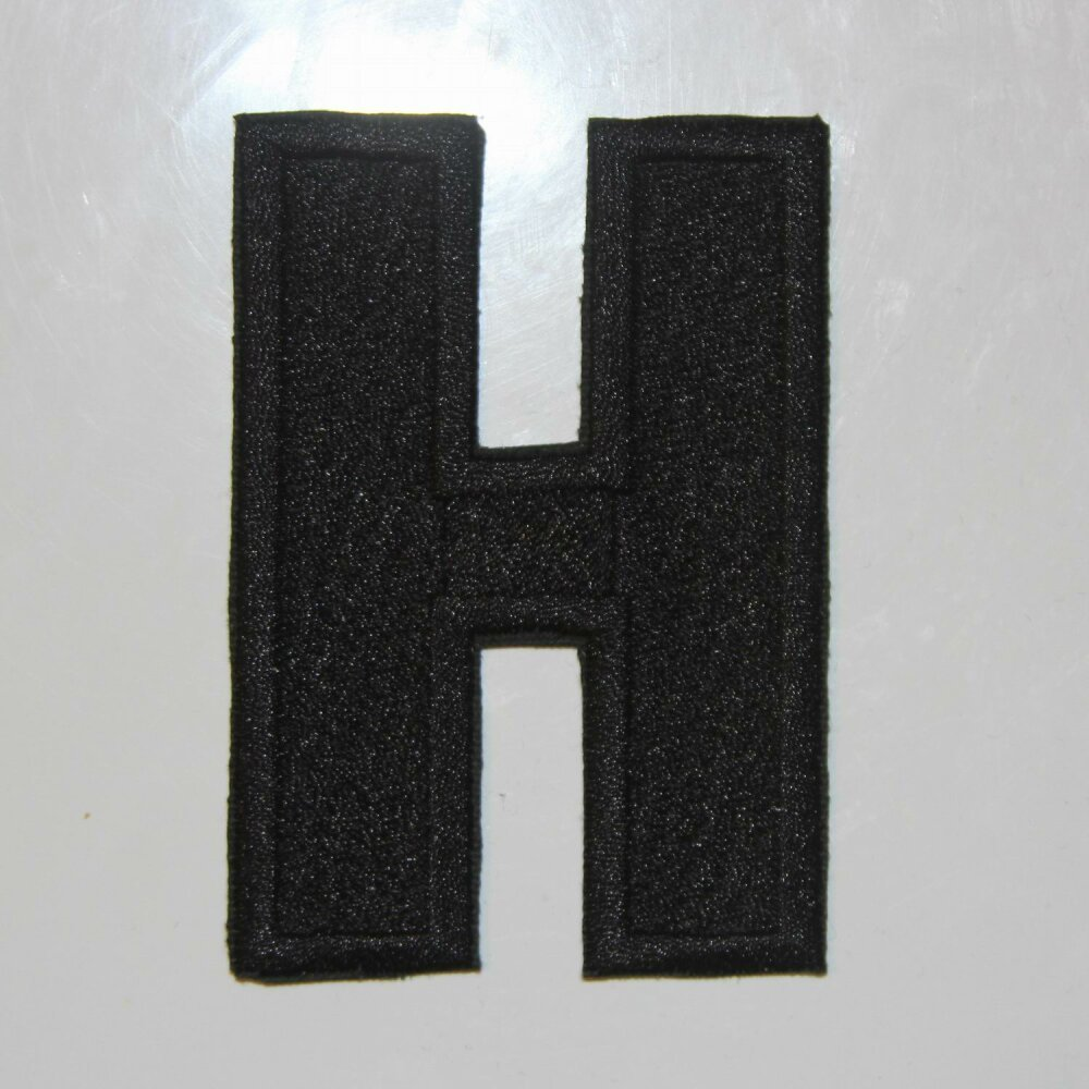 Écusson brodé lettre H, 8 cm de hauteur