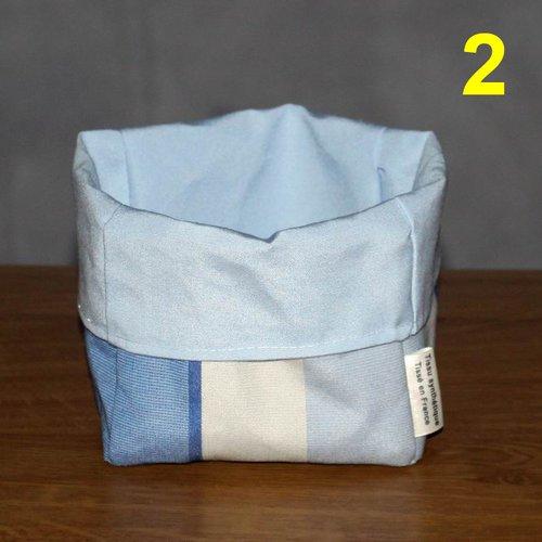Vide poche - paniette panier corbeille à pain - cache pot - reversible - 14 x 18 x 12 cm / tissu recyclage upcyclé