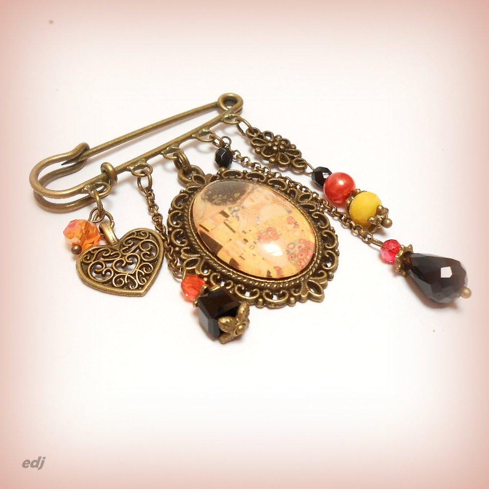 """Broche cabochon verre art déco """"Klimt - Le Baiser"""""""
