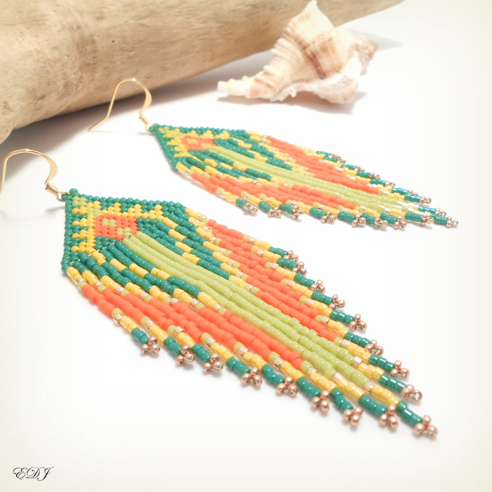 Grandes boucles d'oreilles bohème à franges perlées miyuki vert orange jaune doré