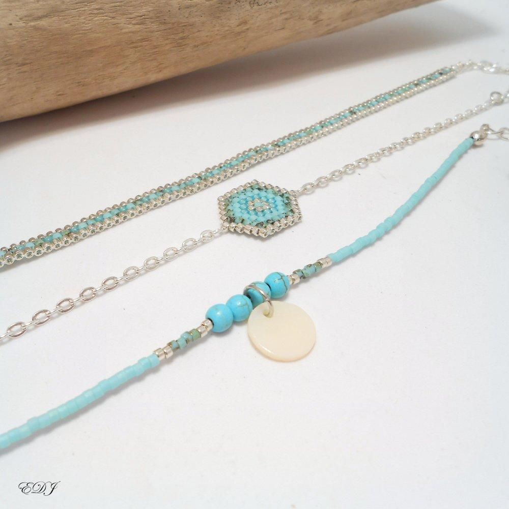 Lot 3 bracelets tissé miyuki fine chaine perles miyuki turquoise vert blanc nacré sequin de nacre argenté et perles turquoise