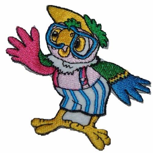 Patch oiseau perroquet écusson brodé thermocollant coutures