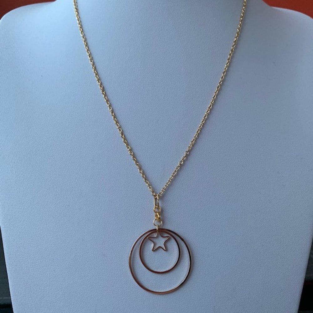 Pendentif Etoile 2 anneaux + chaine 50 cm