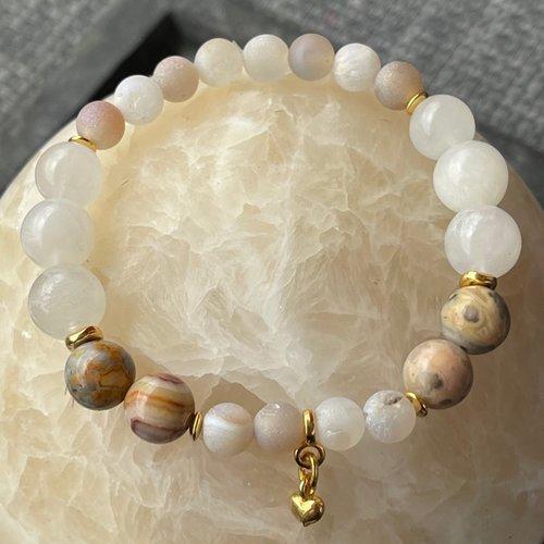 Bracelet perles naturelles et métal doré