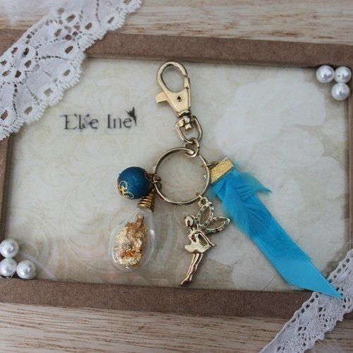 Bijoux pour sac à main oriental féerique bleu