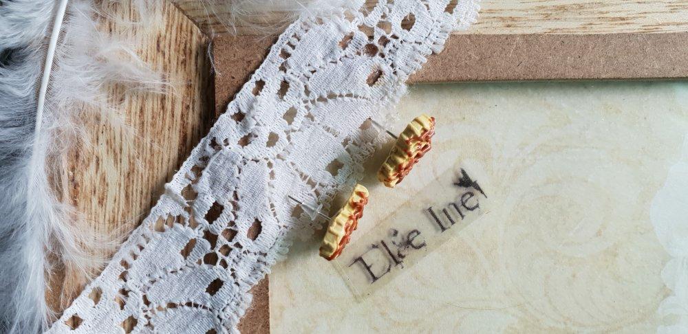 Boucles d'oreilles puce gaufre coeur au chocolat en polymere