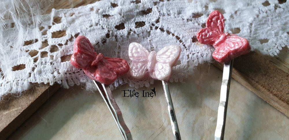 Lot de 3 barrettes papillons dans les tons rose en polymere