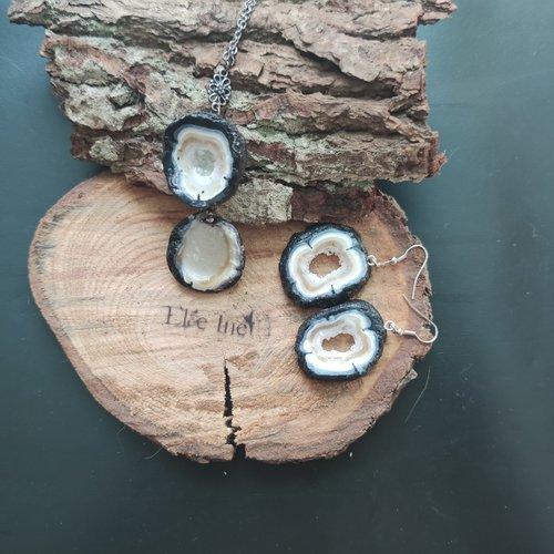 Collier double geode quartz noir en polymère
