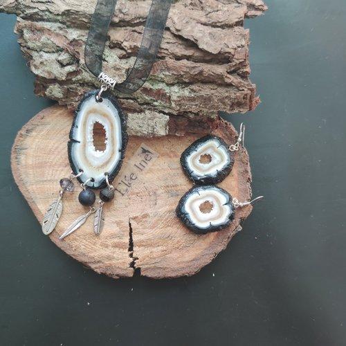 Collier géode quartz noir façon attrape reve en polymère