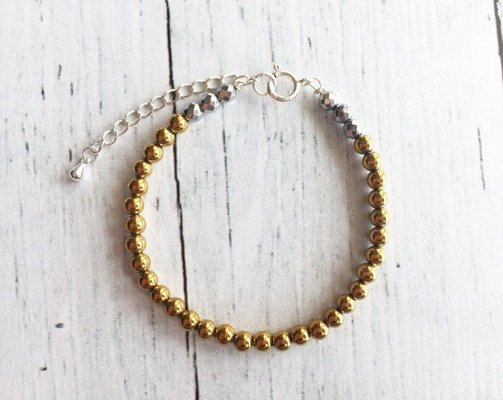 Bracelet ELGEE BIJOUX en argent et perles hématite