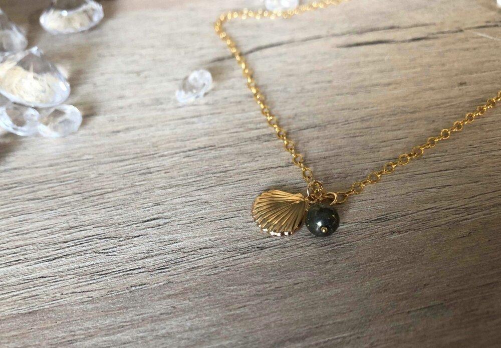 Collier en Gold-filled* 14 carats et perle pyrite