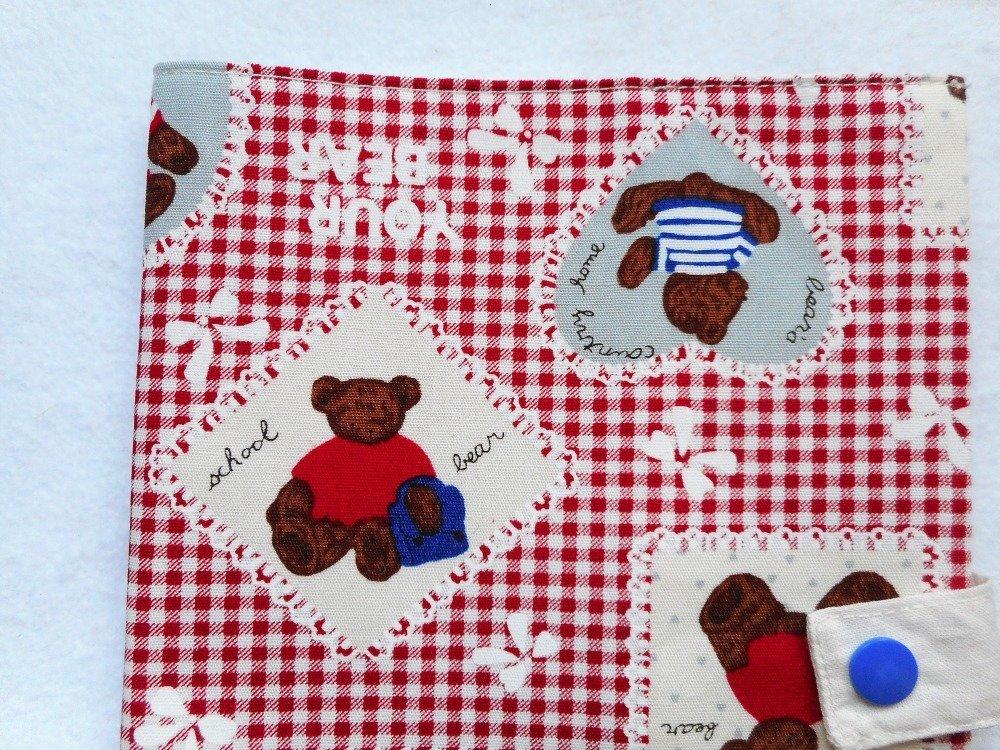 Couverture de Carnet de Santé Bébé Enfant Oursons Vichy Rouge Protège Carnet Cadeau Naissance Baby Shower Prénom Brodé
