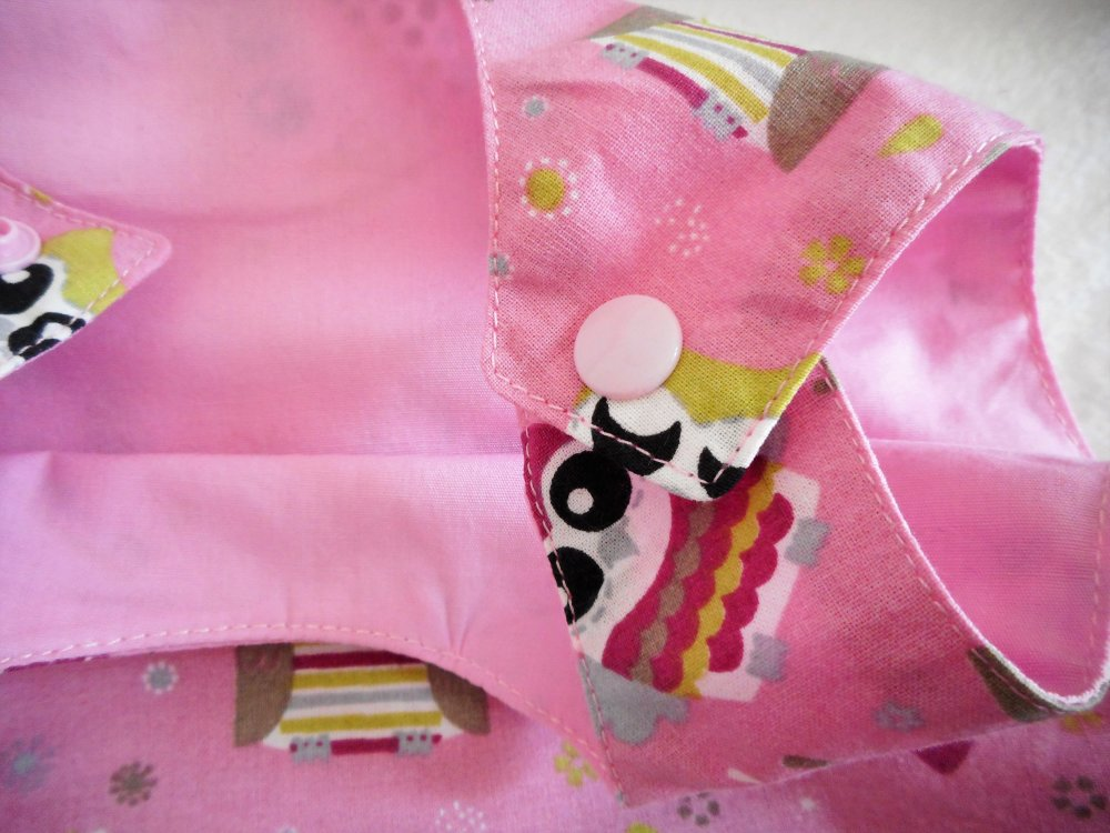 Robe Chasuble Bébé 12-18 mois Printemps Robe Trapèze à Volant Chouettes Rose et Velours Côtelé