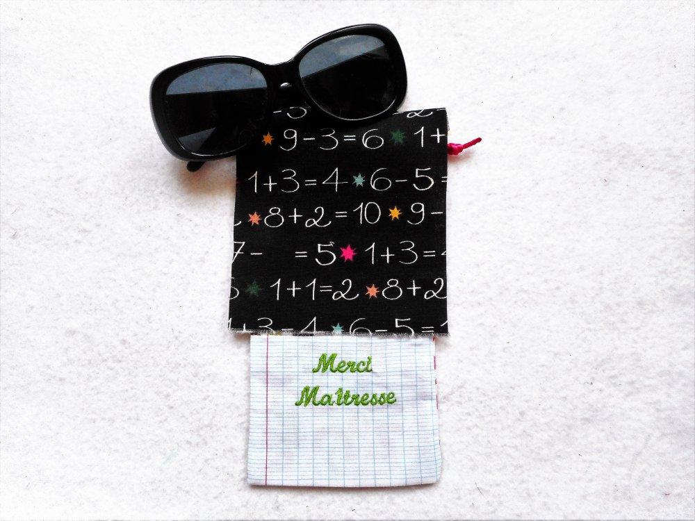 Etui à Lunettes Merci Maîtresse Maître Atsem Additions et Soustractions Cadeau Fin D'Année Scolaire en Coton