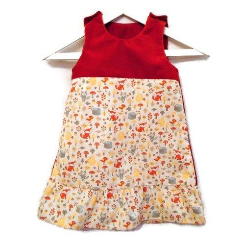 Robe trapèze automne fille 3 ans chasuble à volant coton renards et velours côtelé