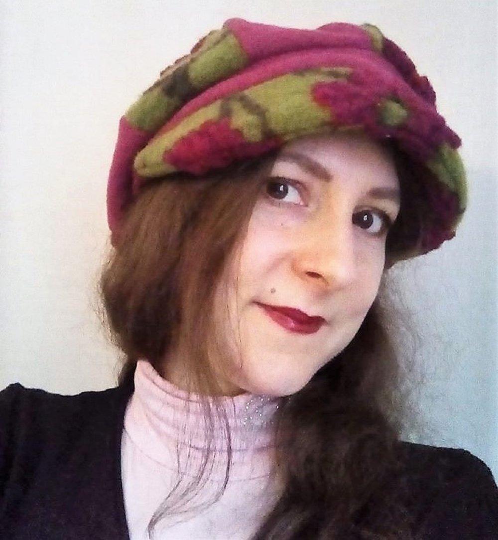 Gavroche Femme Hiver Casquette Boule Taille 57 Laine Bouillie Fleurs Fuchsia et Vert
