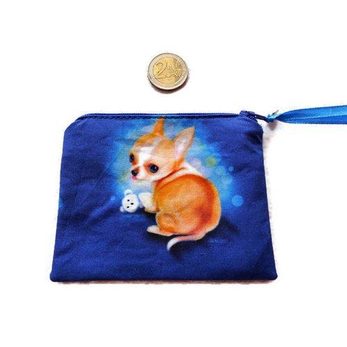 Porte-monnaie plat en coton chihuahua et son jouet fond bleu breloque coeur patte porte-monnaie chien