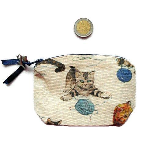 Porte-monnaie en coton-polyester chats et pelotes de laine porte-monnaie femme homme breloque chat