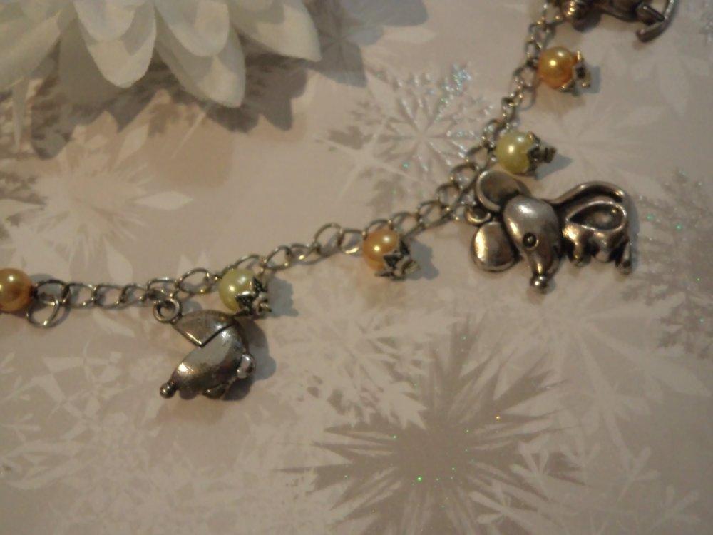 bracelet fille/femme, chaîne argent, maille gourmette, bijou fantaisie moderne à breloques: l'enfance d'antan / vintage