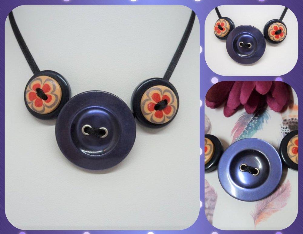 collier réglable, collier original en boutons, bijou fantaisie fille / femme design fleur du printemps Blue