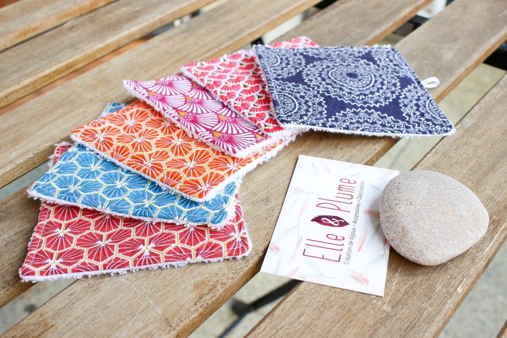 Lingettes bébé ou démaquillantes lavable certifiées oeko tex 10x10 cm lot de 6, cadeau anniversaire bébé original