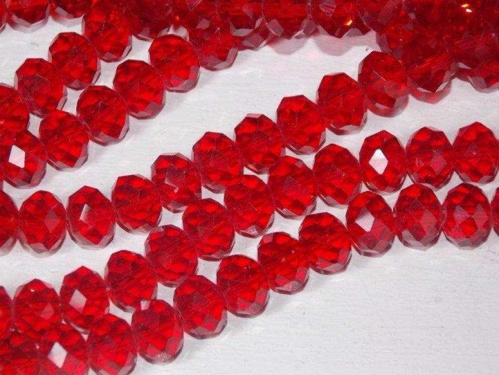 10 perles en verre à facettes rouge