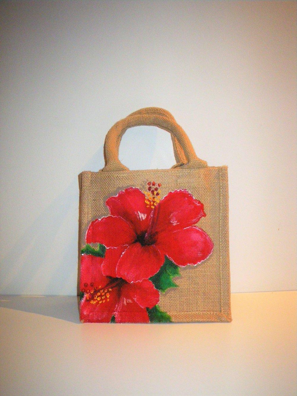 Mini-sac en jute, avec de beaux hibiscus rouge