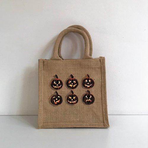 Petit sac xs en jute naturelle, peint à la main pour halloween